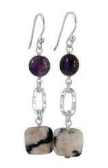Sterling Silver Textured Oval Charm Silver Bead and Stone Drop Earrings