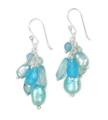 Sterling Silver Cultured Pearl and Mix Stones Cluster Drop Earrings, Blue