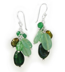 Sterling Silver Cultured Pearl and Mix Stones Cluster Drop Earrings, Green