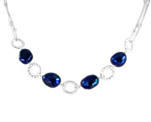 Sterling Silver Textured Circle Charm Cultured Pearl Link Necklace, Navy Blue