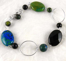 Sterling Silver Circle Wire and Mix Stones Link Bracelet