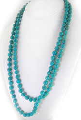 Long Strand of Knotted 8mm Round Stone Necklace, Blue Howlite