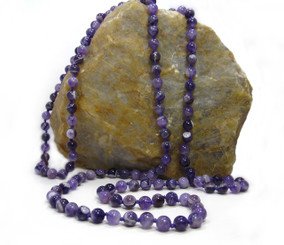 Long Strand of Knotted 8mm Round Stone Necklace, Amethyst