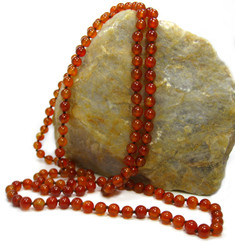 Long Strand of Knotted 8mm Round Stone Necklace, Carnelian