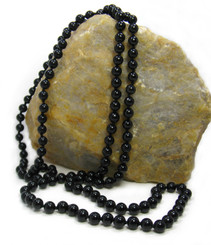 Long Strand of Knotted 8mm Round Stone Necklace, Onyx