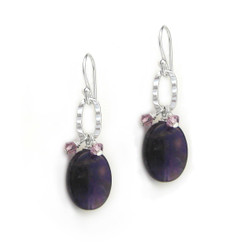 Sterling Silver Texture Oval Charm Crystal Accent Stone Drop Earrings, Amethyst