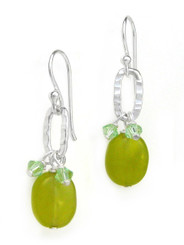 Sterling Silver Texture Oval Charm Crystal Accent Stone Drop Earrings, Green Jade