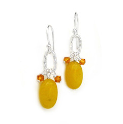 Sterling Silver Texture Oval Charm Crystal Accent Stone Drop Earrings, Honey Jade