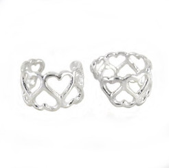Sterling Silver Open Hearts Ear Cuff Earring, One Piece
