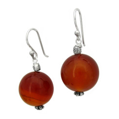 Sterling Silver 14mm Round Stone Accent Bead Drop Earrings, Carnelian