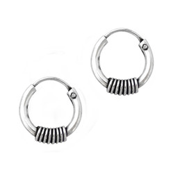 Sterling Silver Coil Design Hoop Earrings, 10 MM