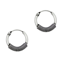 Sterling Silver Coil Design Hoop Earrings, 12 MM