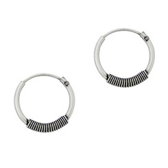 Sterling Silver Coil Design Hoop Earrings, 16 MM