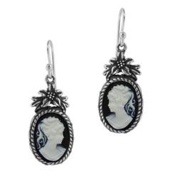 Sterling Silver Flower Topped Resin Cameo Earrings - Black