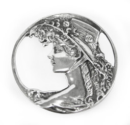 Sterling Silver Lady Circle Brooch Pin