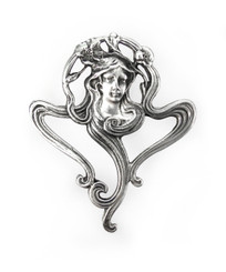 Sterling Silver Art Deco Lady and Swirl Brooch Pin