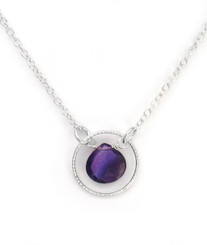 Sterling Silver Circle Charm Center Teardrop Stone Chain Necklace, Amethyst