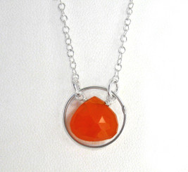 Sterling Silver Circle Charm Center Teardrop Stone Chain Necklace, Carnelian