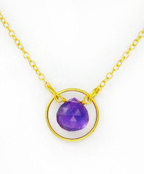 Gold Plated Sterling Silver Circle Charm Center Teardrop Stone Chain Necklace, Amethyst