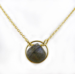 Gold Plated Sterling Silver Circle Charm Center Teardrop Stone Chain Necklace, Labradorite