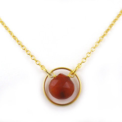 Gold Plated Sterling Silver Circle Charm Center Teardrop Stone Chain Necklace, Red Chalcedony