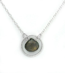Sterling Silver Circle Charm Center Teardrop Stone Chain Necklace, Labradorite