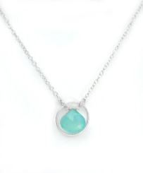 Sterling Silver Circle Charm Center Teardrop Stone Chain Necklace, Ocean Blue