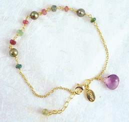 Gold Plated Sterling Silver Mix Stones and Cultured Pearls Link Bracelet, Amethyst
