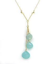 Gold Plated Sterling Silver Three Teardrop Stones Chain Necklace, Blue Chalcedony