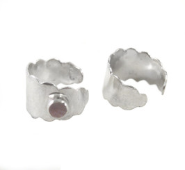 Sterling Silver Stone Accent Scalloped Edge Ear Cuff Earring, One Piece