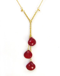 Gold Plated Sterling Silver Three Teardrop Stones Chain Necklace, Red Chalcedony