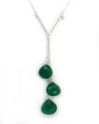 Sterling Silver Three Teardrop Stones Chain Necklace, Green Onyx