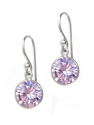 Sterling Silver Round Crystal Drop Earrings, Lavender