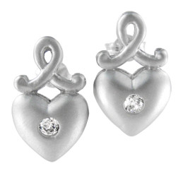 Sterling Silver Heart and Sparking Crystal Matte Finish Post Earrings
