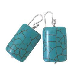 Sterling Silver Bold Blue Howlite Drop Earrings