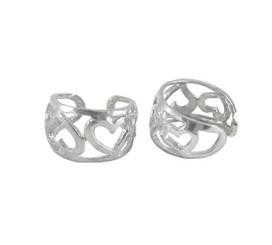 Sterling Silver Sweet Open Hearts Band Ear Cuff Earring, One Piece