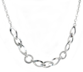 Sterling Silver Marquise and Circle Link Necklace, Adjustable 16 - 18 Inch