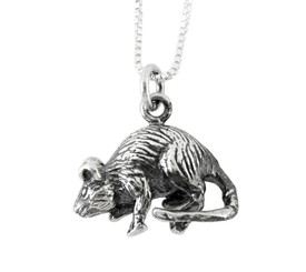 Sterling Silver Chinese Zodiac Rat Charm Necklace