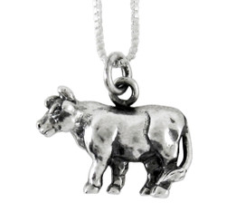 Sterling Silver Chinese Zodiac Ox Charm Necklace