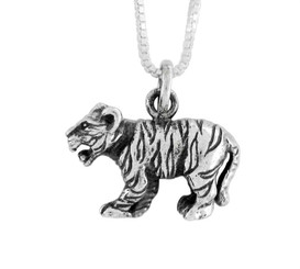 Sterling Silver Chinese Zodiac Tiger Charm Necklace
