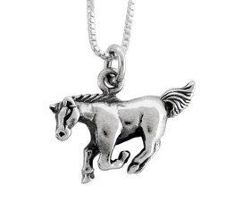 Sterling Silver Chinese Zodiac Horse Charm Necklace