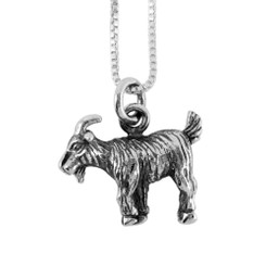 Sterling Silver Chinese Zodiac Goat Charm Necklace