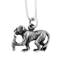 Sterling Silver Chinese Zodiac Monkey Charm Necklace