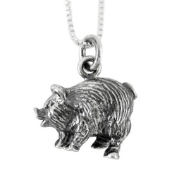 Sterling Silver Chinese Zodiac Pig Charm Necklace