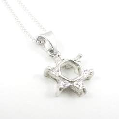 Star of David Sterling Silver and Crystal Necklace, Clear