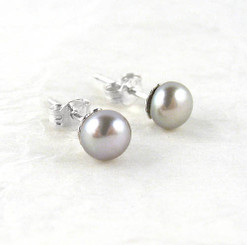 Sterling Silver 6-8mm Cultured Pearl Stud Post Earrings, Gray