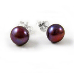 Sterling Silver 6-8mm Cultured Pearl Stud Post Earrings, Purple