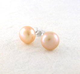 Sterling Silver 10-11 mm Cultured Pearl Stud Post Earrings, Champagne