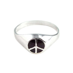 Sterling Silver Enameled Peace Sign Ring