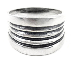 Sterling Silver Stripe Tapered Band Ring